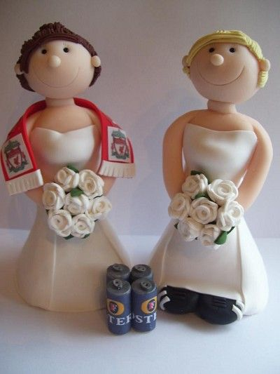 Civil ceremony toppers featuring beer and football loving ladies