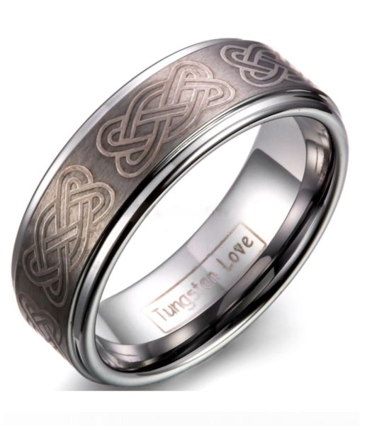 Thisvintage style band has an infinity knot symbols wrapping the band. Made of Tungsten Carbide with an 8mm band width this ring has a rose brown and tan fini