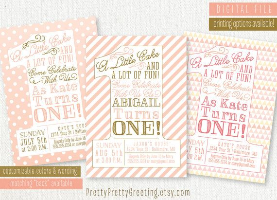 Best Pink And Gold Party Images On Pinterest Years Cook - First birthday invitations girl pink and gold