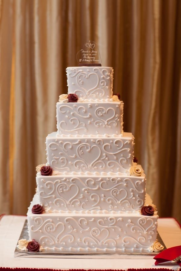 Wedding Cake Heart Frosting Red and White Wedding by Abbey Domond Photography