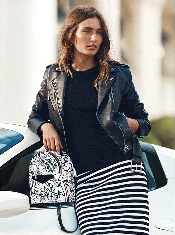 2c8e4d52c02b MICHAEL MICHAEL KORS Jessa Small Graffiti Leather Convertible Backpack in Optic  White - Today's Fashion Item