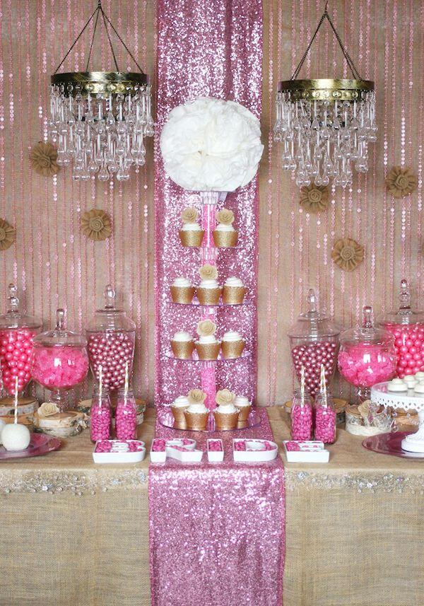 Rustic pink and gold glam bridal shower idea www.MadamPaloozaEmporium.com www.facebook.com/MadamPalooza