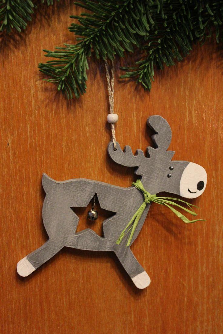 Новогодний декор, новогодние украшения, ёлочные украшения, деревянные игрушки, лось