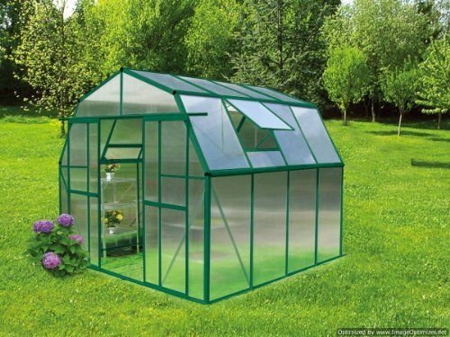 "Grow N Up Hobby Greenhouse 8x8 by EarthCare Greenhouses. $949.99. 8'6"" wide and 8'6"" long and 7'5"" high.  door is 4' Wide and 5'5"" tall. Green Power coated Aluminum Frame with Lifetime warranty. Base is included. 6 MM Double Wall Polycarbonate Panels on roof and walls. 2 Roof Vents, Double Sliding Doors,. Top of the line greenhouse kit with a very affordable price. Compare this greenhouse with the other models and you will see how much greenhouse you are getting for this low..."
