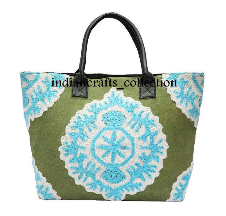 Indian Cotton Woman Handbag Suzani Embroidery & Shoulder Tote Bag Beach Boho Bag #Handmade #ShoulderBag