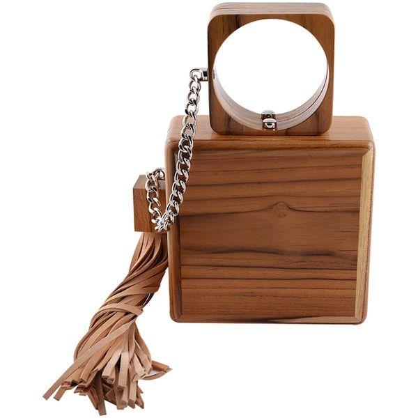 Cuffed Clutch - Bags (1 994 655 LBP) ❤ liked on Polyvore featuring bags, handbags, clutches, wood purse, chain handle handbags, brown handbags, wooden handbag and tassel handbags