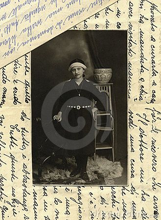 This original antique photograph is of a young girl, taken in Italy. Background: two original letters of the vintage