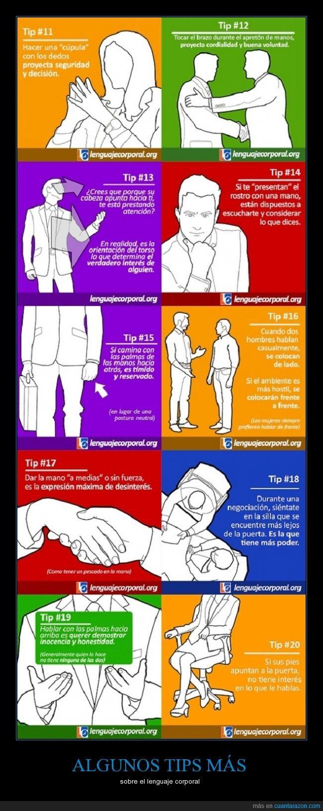 ALGUNOS TIPS sobre el lenguaje corporal, sabiendo que analizarlos en un contexto determinado es lo que realmente nos brindará más información.