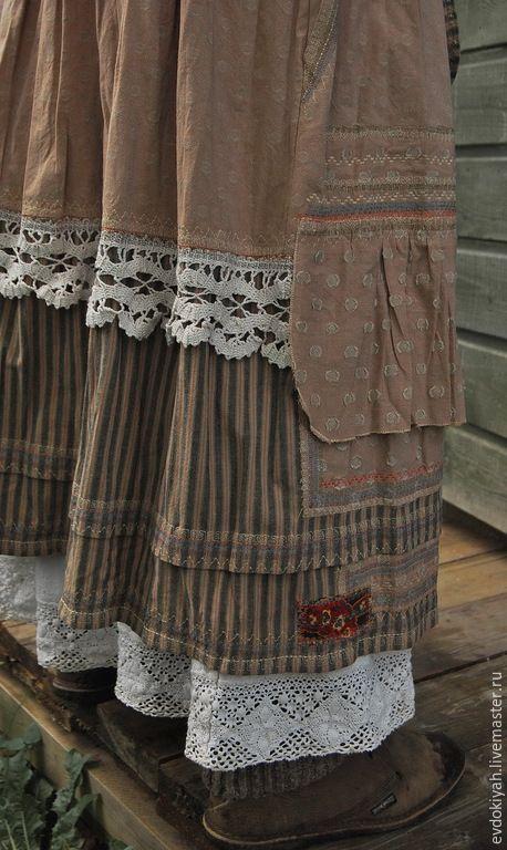 Купить ОДЕЖДА ДЛЯ СВОБОДНЫХ НАТУР - коричневый, в горошек, платье, натуральные материалы, классика, прованс