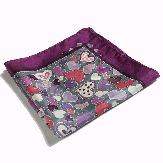 Purple silk hand painted pocket square violet mens