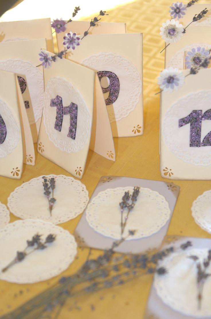 Handmade lavender table numbers
