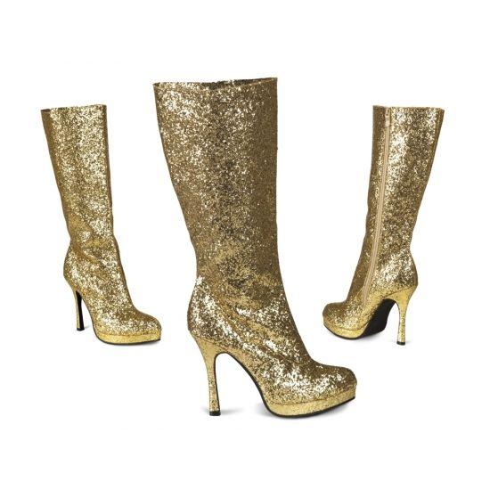 Gouden glitter laarzen met hak voor dames. Goudkleurige laarzen bezaaid met glitters. De hak hoogte is ongeveer 10 cm.