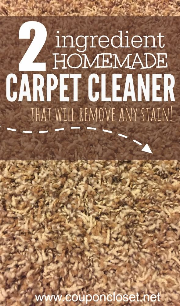 Try this easy Homemade Carpet Cleaner - you only need 2 ingredients to make it. It will literally get out any stain in minutes.