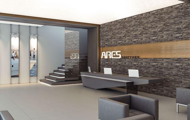 Antalya'da bulunan Ares Yatçılık'ın yeni tersanelerinin yönetim binası iç mekan tasarımı.