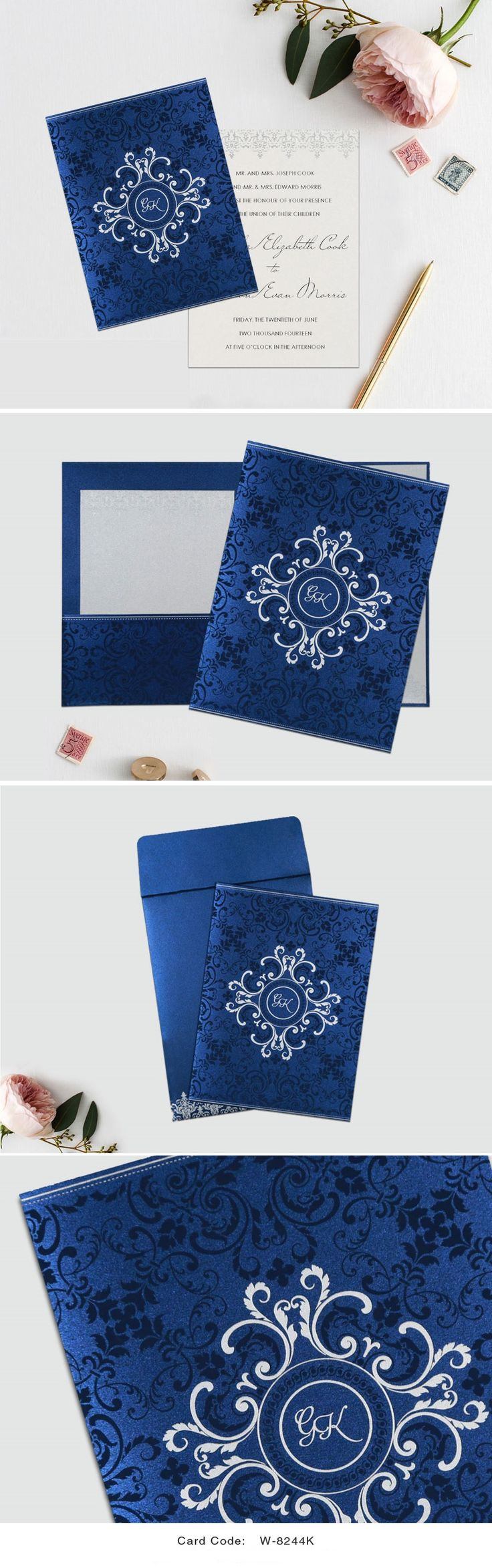 COBALT BLUE SHIMMERY SCREEN PRINTED WEDDING CARD