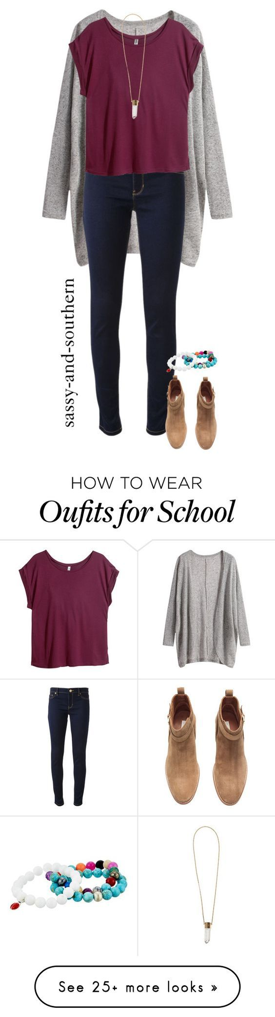 """""""school outfit"""" by sassy-and-southern on Polyvore featuring Michael Kors, H&M, Chloé, Dee Berkley and sassysouthernfall:"""