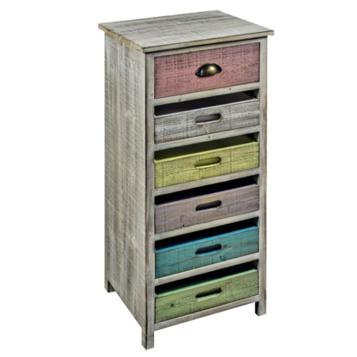 6 Multicoloured Drawer Timber Cabinet