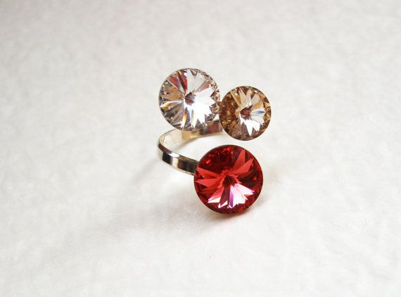 Sterling silver Swarovski crystal adjustable ring / by DreamyBox