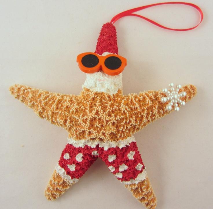 Starfish Christmas Ornament - Beach Themed Santa Ornament