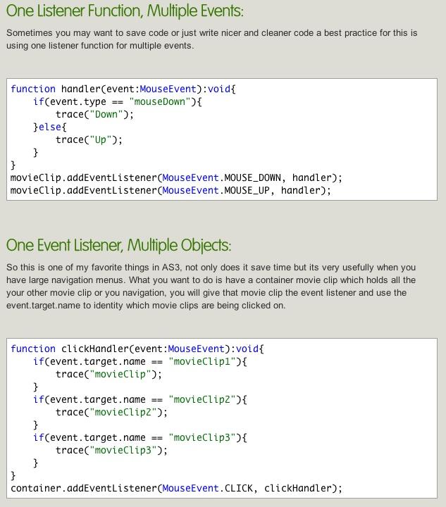#flash #as3 basics: Event Listeners Tips & Tricks     http://www.almogdesign.net/blog/actionscript-3/actionscript-3-event-listeners-tips-tricks/