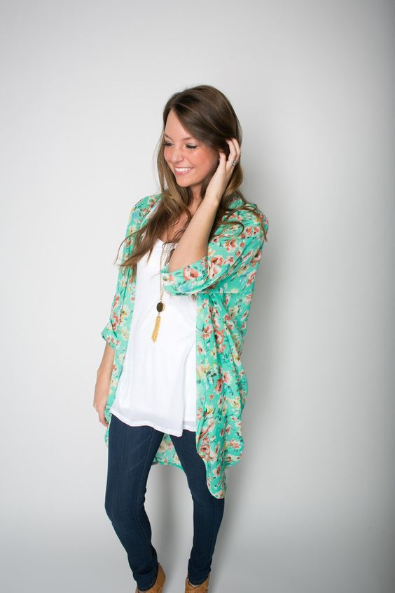 Simple top, colorful, floral kimono, and jeans - a good example of my everyday style