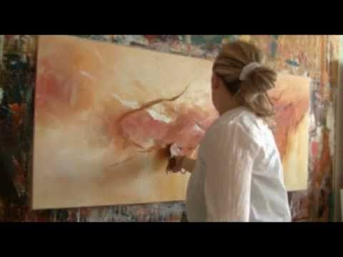 """Abstract acrylic painting Demo - Abstrakte Malerei """"Melodioso II"""" by Zacher-Finet - YouTube"""