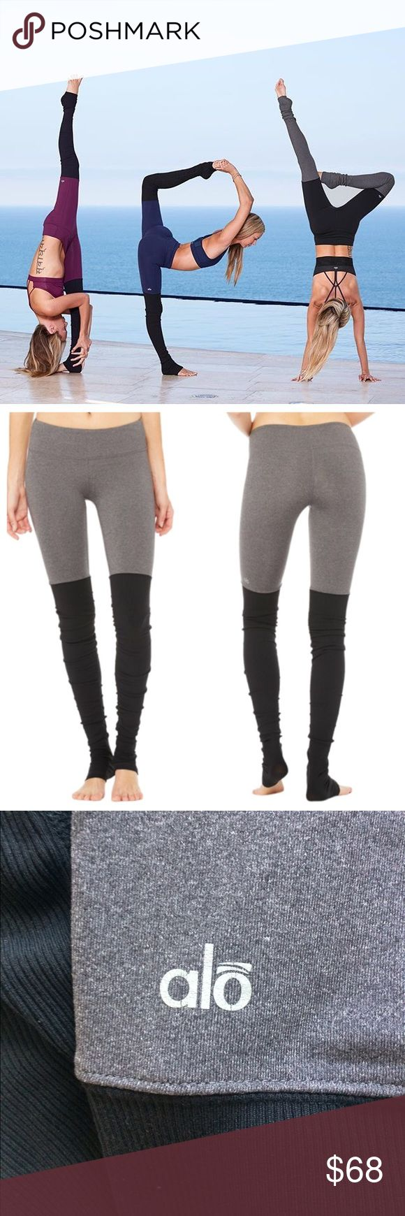 """Alo Yoga Goddess Leggings EUC. tag indicating size on the inside back waistband was cut off due to skin irritation. Color is """"stormy heather and black."""" """"Longer inseam 31.5in with ribbed contrast scrunches like legwarmers. Flat seaming for a smooth, more comfortable fit. Hidden key/card pocket in waistband. Our patent-pending Goddess Ribbed Legging features ultimate performance fabric that slims inner and outer thighs and seriously lifts your booty. New waistband engineering is tummy…"""