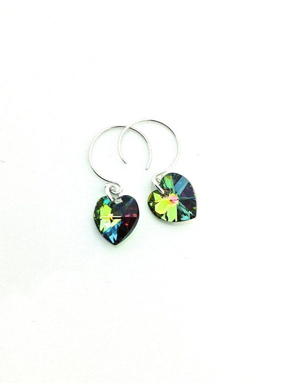 Small colorful sparkly Swarovski crystal hearts on sterling silver ear wire hoop