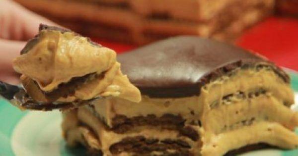 Ένα υπέροχο γλυκό με μπισκότα, καραμέλα γάλακτος και τυρί κρέμα