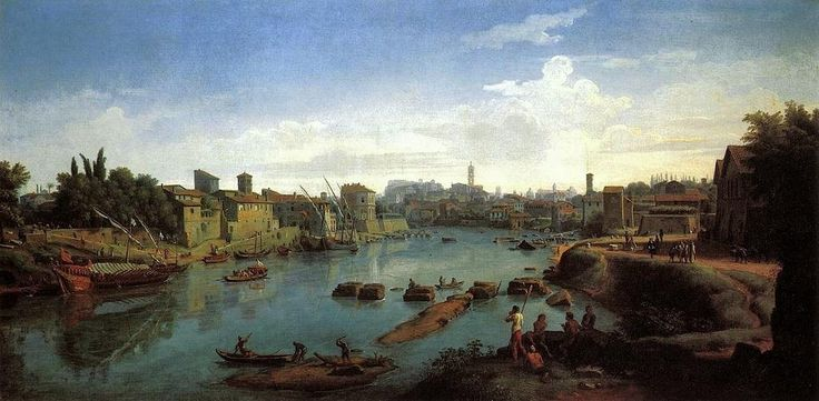 Caspar Andriaans van Wittel. Rome: the Tiber near the Porto di Ripa Grande, 1711