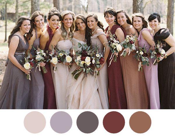 autumn spice maroon dusty colored bridesmaid dresses - Fall Colored Bridesmaid Dresses