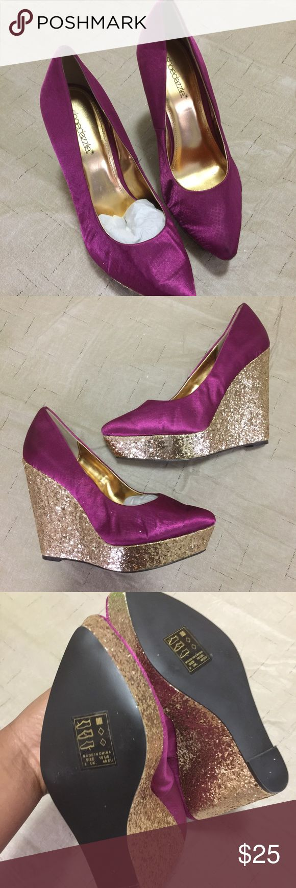NWT Purple & Glitter Gold Wedges Size: 10 | Condition: NWT/new/never worn | Beautiful deep purple and sparkly wedges! Shoe Dazzle Shoes Wedges