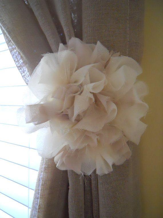 Matching Set Of Fabric Flower Curtain Tie Backs Little G Nursery Curtain Tie Backs