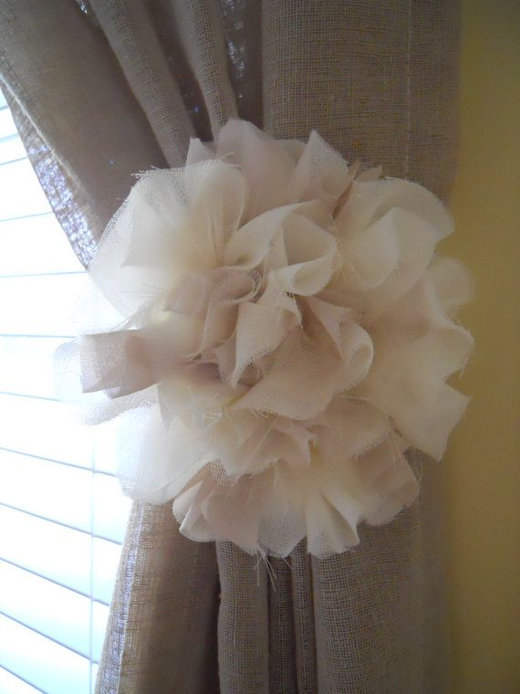 Matching Set of Fabric Flower Curtain Tie Backs