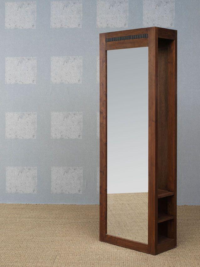 www.livinghome.nl info@livinghome.nl €132,- #kapstok #spiegel #bruin #hout #interieur