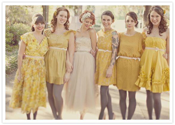 love the bride's wedding dress and vintage mustard yellow bridesmaid dresses with gray tights