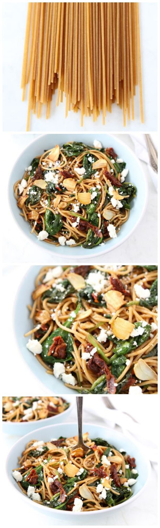 Whole Wheat Spaghetti with Sun Dried Tomatoes and Spinach on twopeasandtheirpod.com Love this simple pasta dish!: Wheat Spaghetti, Sun Dried Tomatoes, Sun Dried Recipes, Spinach Meatlessmonday, Pasta Dishes, Food Pasta, Simple Pasta, Meatless Monday