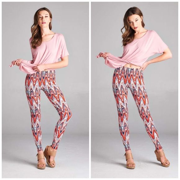 """Stylish Multi Colored Leggings Stylish multi color leggings. Super fashionable. Perfect to pair with tunic . Made of poly/spandex blend. Inseam 28"""". Bchic Pants Leggings"""