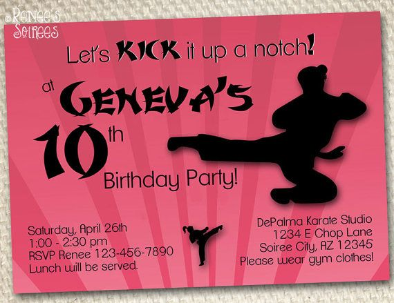 52 best Karate Ninja Martial Arts Party images – Martial Arts Birthday Invitations