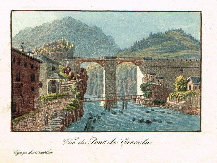 Vue du Pont de Crevola - Voyage du Simplon - Aquatinte XIXe - MAS Estampes Anciennes - MAS Antique Prints