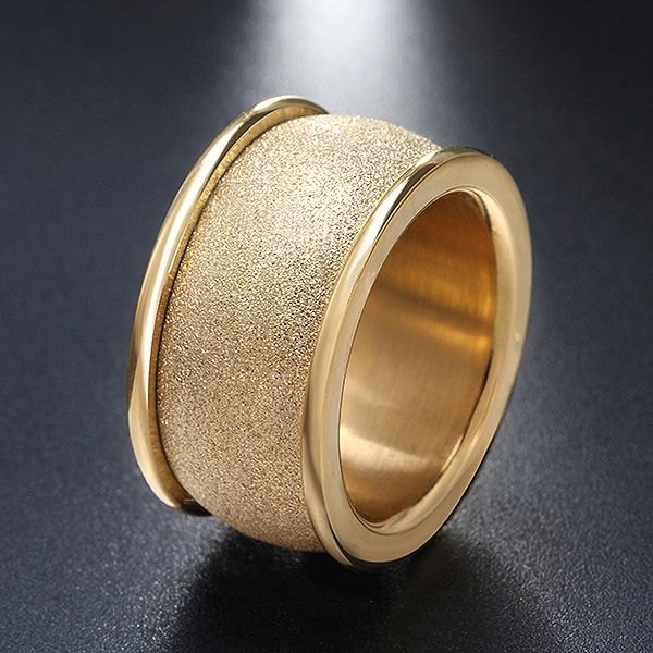 Gold Stainless Steel Frosted Surface Ring
