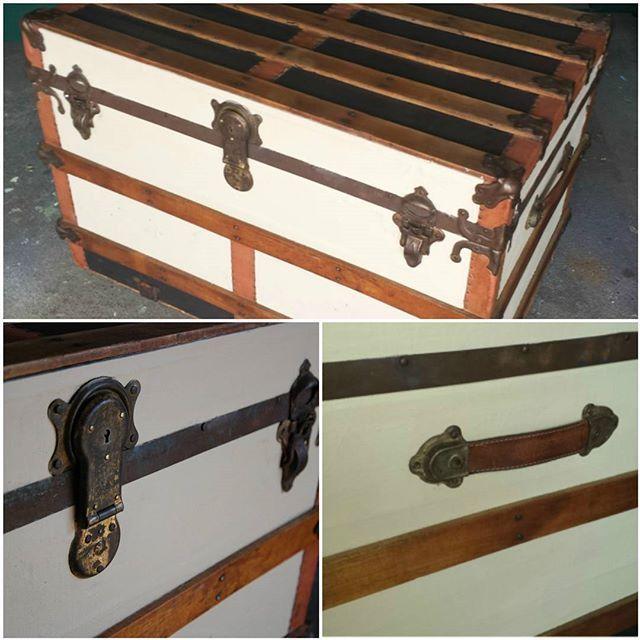 Restored steamer trunk - Sold.  #refinishedfurniture  #steamertrunk