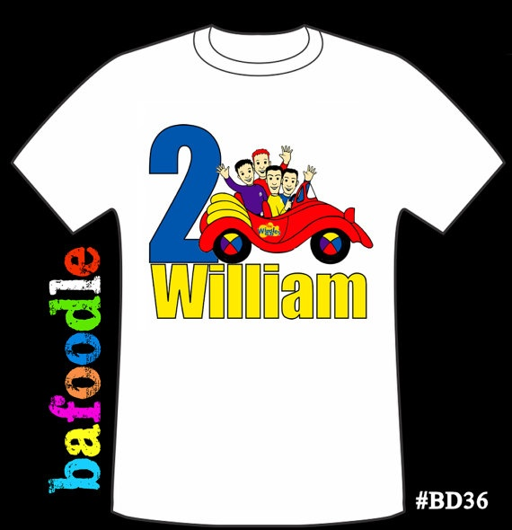 Wiggles personalized age Tshirt birthday shirt favor by bafoodle, $12.00