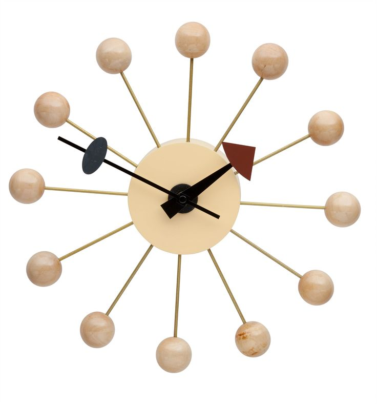 Replica George Nelson Ball Clock - Natural -- Our Replica George Nelson Ball Clock is an inspired reproduction of the mid century (1950's) clock designs of George Nelson. This fun and interesting pieces has classic retro style, and provides a stylish alternative to the dull and boring modern wall clocks that abound the market.   Features an Aluminium Quartz holder, with CE Quartz movement.  The wooden balls are covered in a clear lacquer.--79.0000