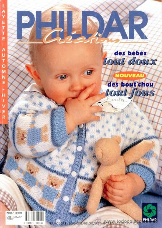 Phildar Baby Knitting Pattern Books : Revista *PHILDAR LAYETTE N?267* AUTOMNE-HIVER 1995 -Punto Bebes- 35 Modeles ?...