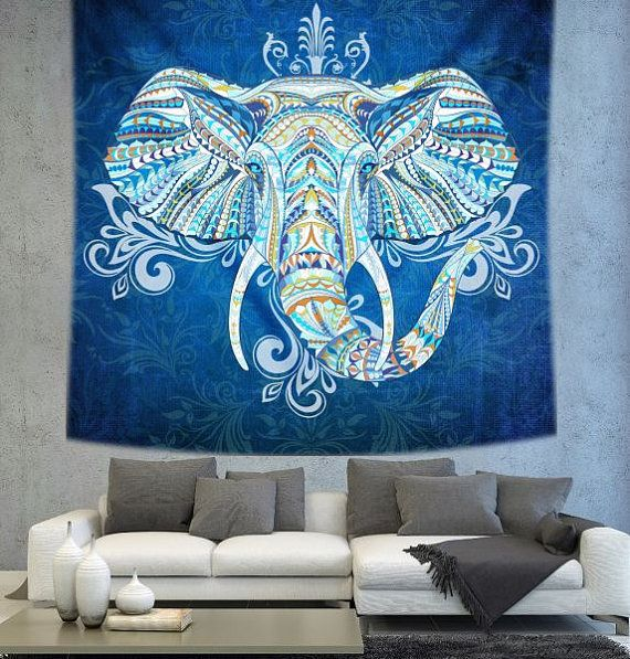 Elephant tapestry mandala tapestry Bohemian by Christinedecorshop