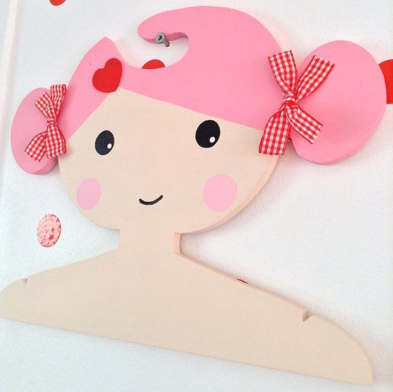 Childrens Clothes Hanger with pink hair and by Daisymooo on Etsy