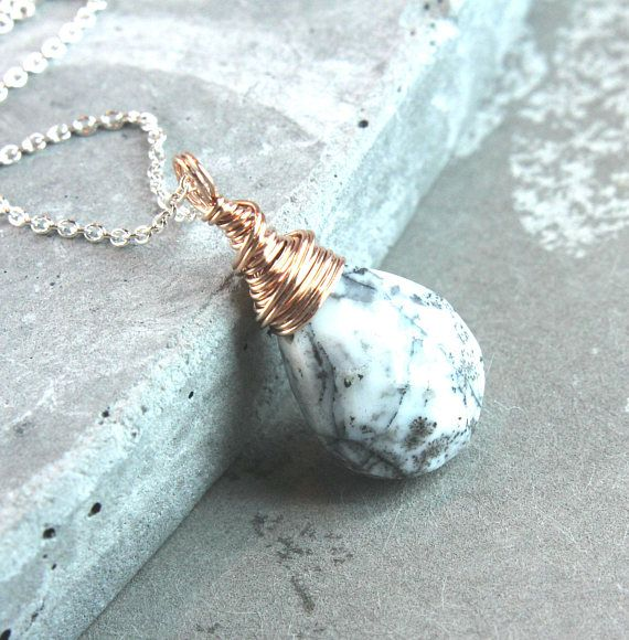 Dendritic Agate Necklace Rose Gold  Gemstone Jewelry Mixed