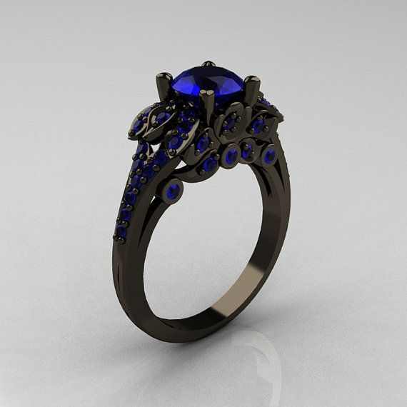 Something blue??...   Classic 14K Black Gold 1.0 CT Blue Sapphire by DesignMasters