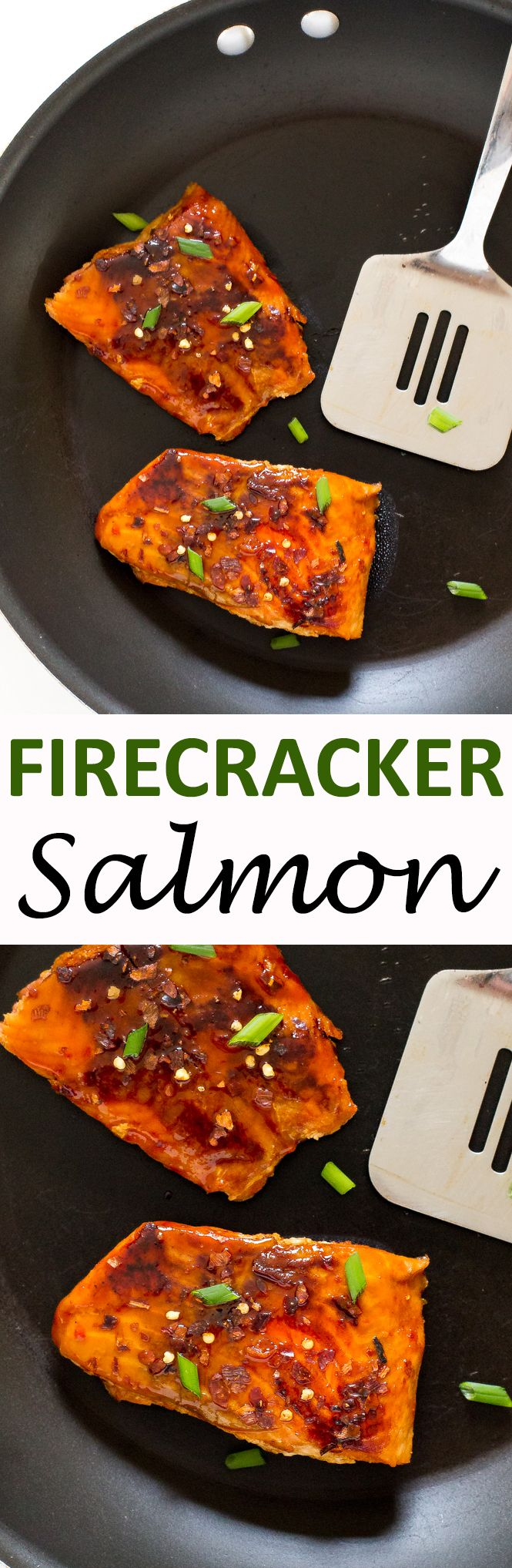 20 Minute Firecracker Salmon. Pan fried salmon topped with a sweet and spicy firecracker sauce. A quick and easy weeknight meal! | chefsavvy.com #recipe #firecracker #salmon #seafood #dinner